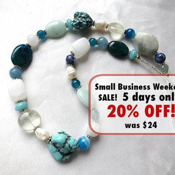 Summery aqua, blue & white gemstone and pearl necklace. Colorful Hippie Boho long statement jewelry. Beachy turquoise, agate, pearls, quartz