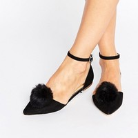 Miss KG Goldie Pom Pom Ankle Strap Point Flat Shoes at asos.com