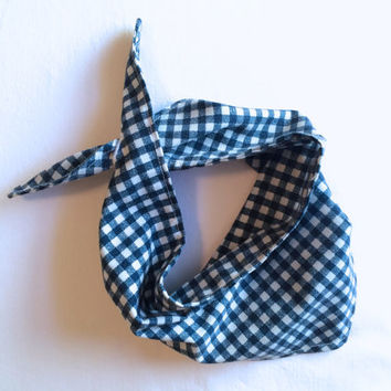 Upcycled Baby Bandana Bib with buttonhole closure- Blue and White Checkered