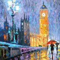 Night London in rain OIL PAINTING on canvas by Dmitry Spiros