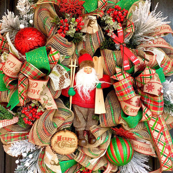 Christmas wreath, Rustic Christmas  Wreath, burlap Christmas wreath,  Santa wreath, Christmas Elf wreath, woodland Christmas wreath,