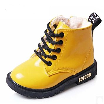 Winter  Children  Shoes  Leather  Waterproof  Martin