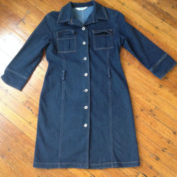 Vintage 70s Denim Lab Coat Jacket Jean Jacket 3/4 quarter length sleeves Sz XS/S Paris Tokyo New York Buttons