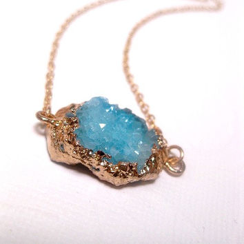 Turquoise Crystal Druzy Necklace - Geode - Custom Length Chain
