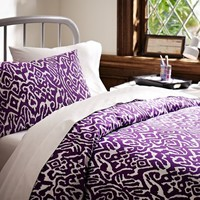 Urban Ikat Organic Bedding Bundle, Plum