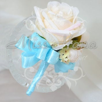 White Rose boutonnieres Wrapped In Ribbon Silk Flower Arrangement Rustic Chic Romantic bridesmaid