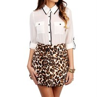 Ivory/Black Button Front Top