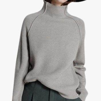 Cashmere Funnel Neck Ribbed Sweater