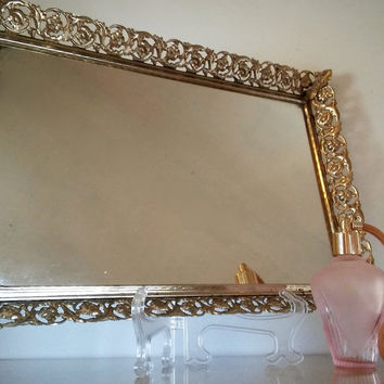 Vintage Vanity Mirror, Vintage Mirror Dressing Table Gold Filigree