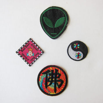 Vintage 90s Batch of 4 Soft Grunge Iron-On Patches // Space Alien, Yin Yang, Chinese Character, BFF Grrrls