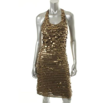BCBG Max Azria Womens Iman Lined Sequined Cocktail, Evening Dress