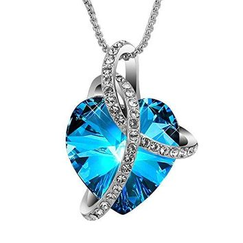 "SIVERY ""Love Heart"" Fashion Pendant Necklace, Made with Blue SWAROVSKI Crystals, Jewelry for Women"