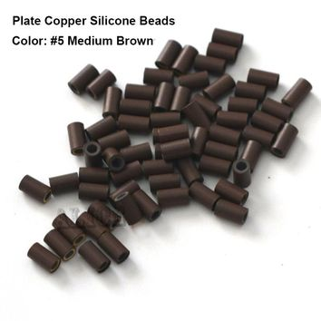 Flat Edge Silicone Copper Micro Rings 3.4*2.0*6.0mm Black 1000pcs/Lot Hair Beads For Dreadlocks