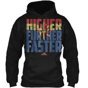 Marvel Captain Marvel Movie Higher Faster Graphic  Pullover Hoodie 8 oz