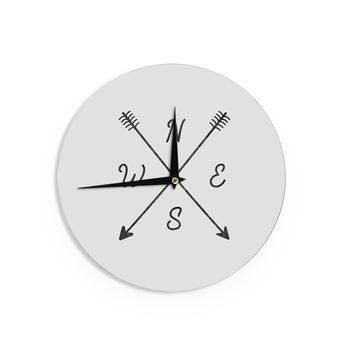 "Draper ""Cardinal Direction A"" White Illustration Wall Clock"