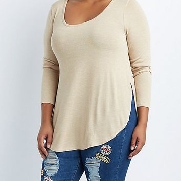 Plus Size Slub Knit Tunic Tee