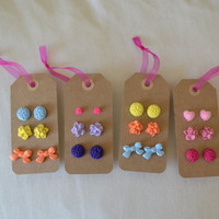 Cabochon Flower Post Earring Sets/ You pick