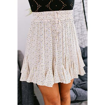 My Only Weakness Dotted Ruffle Skirt (Ivory)