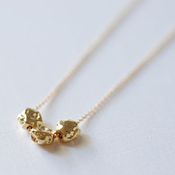 Dainty Gold Nuggets Necklace-24k gold Simple Everyday Necklace
