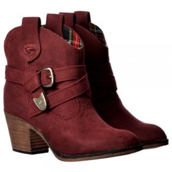 Rocket Dog Satire Western Cowboy Style Ankle Boots Cuban Heel - Red, Black, Burgundy - Rocket Dog from Onlineshoe UK