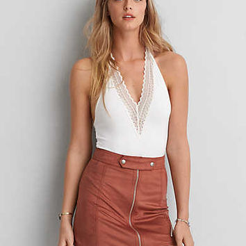 AEO Deep V Halter Bodysuit , Natural White