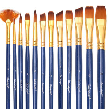 Dainayw Art Paint Brush Set - 12 Nylon Hair Brushes for Art Painting Face Painting - Acrylic Paint Watercolor Oil Easy-to-Use Face Art Supplies Paint Palette