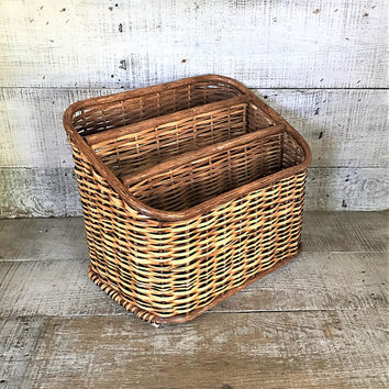 Desktop Organizer Wicker Desk Organizer Desktop Storage Mid Century Office Decor Mail Organizer Desktop Organizer Desk Basket Cottage Chic