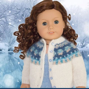 Bohus Blue Shimmer- Sweater Cardigan Jacket -  Knitting Pattern -  American Girl Doll - 18 inch doll - PDF Instant Download - Medium Level