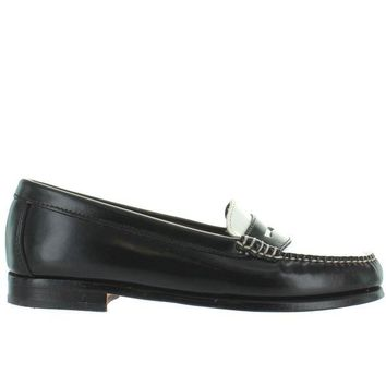 ONETOW Bass Wayfarer - Black/White Leather Penny Loafer