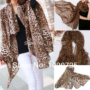 Hot New Style Fashion Hot Sale Long section Tiger Leopard Chiffon Scarf Scarves Women Warm Animal Print Favorite Sunscreen Shawl