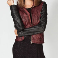 Sebby Color Block Womens Faux Leather Jacket Black/Red  In Sizes