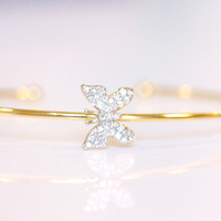 Little New Life Butterfly Bangle - Gold