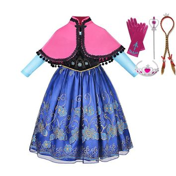 VOGUEON Girls Anna Dress up Clothes Long Sleeve Floral Applique Snow Queen Princess Costume Kids Halloween Cosplay Party Dresses