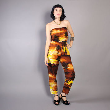 80s TROPICAL STRAPLESS JUMPSUIT / Hawaiian Sunset Print Romper, xs