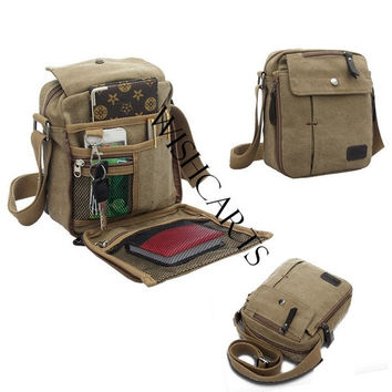 2016 New Men's Vintage Canvas Multifunction Travel Satchel / Messenger Shoulder Bag (Color: Brown) = 1645901764