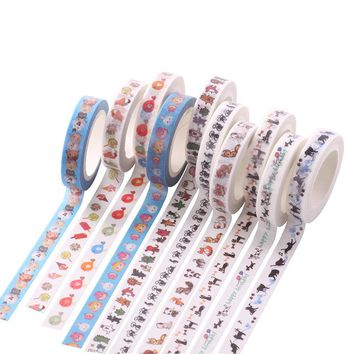 50 pcs/lot DIY Cartoon Paper Washi Masking Tapes Lace fine decorative adhesive tape stickers/School Supplies Size 8mm*7M
