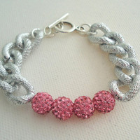Pave crystal chunky chain bracelet silver pink, blue or purple