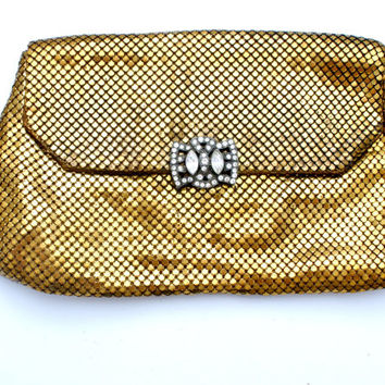Whiting & Davis Clutch Purse Gold Mesh Rhinestone Clasp Vintage