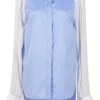 Collarless Cotton Shirting Top | Moda Operandi
