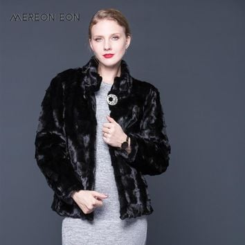 Women Natural Mink Fur Coat Stand Collar Fashion Jacket Mink Fur Coat Long Sleeve Black Elegant Genuine Fur Coat Mandarin Collar