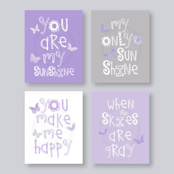 SALE Kids Wall Art Purple And Gray Nursery Decor Prints On Paper   You Are  My
