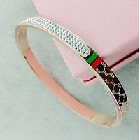 GUCCI Popular Women Men Delicate GG Letter Red Green Block Diamond Lovers Stainless Steel Bracelet Jewelry I12464-1