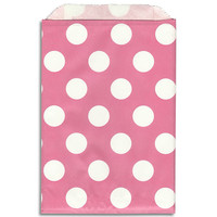 Bright Pink- White Dot Paper Bags