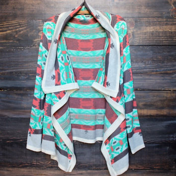 cozy bonfire knit cardigan sweater - aqua