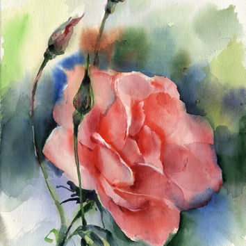"Original watercolor flower painting ""Rose"", paper"