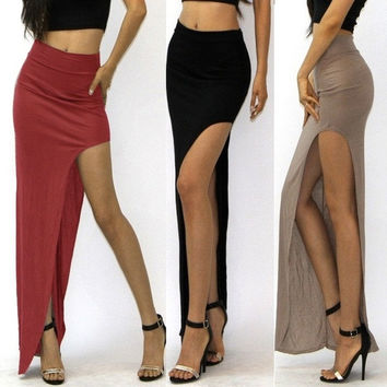 Fashion Women's High Waisted Side Open Long Maxi Dress Long Skirt = 1645903748