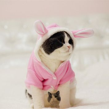 Warm Comfortable Thickened Cat Costumes Rabbit suit Free clothes windproof Pet Product Cute Bunny suit  For Cat Winter Shipping