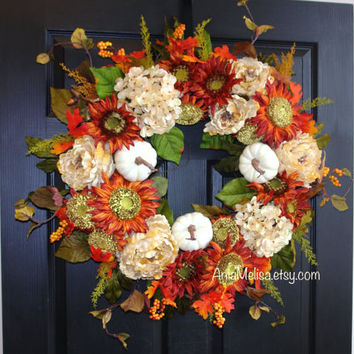 fall wreath 30'' fall wreaths autumn wreaths front door wreaths orange brown berry wreath front door wreaths Thanksgiving outdoor wreaths