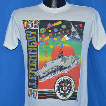 80s USS JF Kennedy Aircraft Carrier Sunset Rainbow t-shirt Small