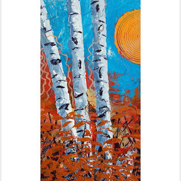 "Birch Tree in the Fall or Autumn: 24""x36"" An original abstract contemporary birch tree landscape"